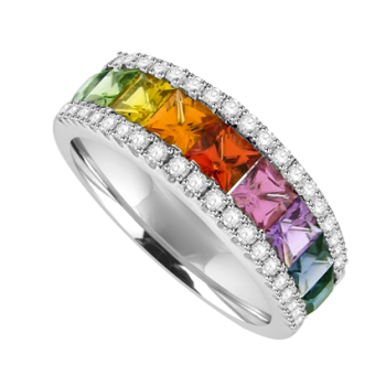 18ct White Gold 3Row Rainbow Sapphire & Diamond Eternity Ring
