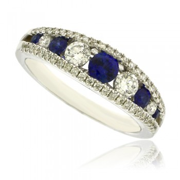 18ct White Gold Sapphire & Diamond 3 Row Eternity Ring