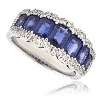 18ct White Gold 3-Row Sapphire & Diamond Eternity Ring