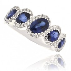 18ct White Gold 5-Stone Sapphire & Pave Diamond Eternity Ring