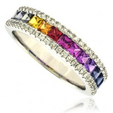 18ct White Gold 3-Row Rainbow Sapphire & Diamond Eternity Ring