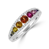 18ct White Gold Graduated Rainbow Sapphire Diamond Ring