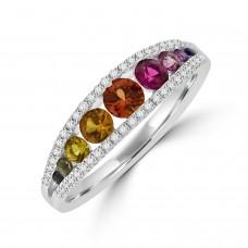 18ct White Gold Graduated Rainbow Sapphire Diamond Ring