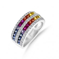 18ct White Gold 5-Row Rainbow Sapphire & Diamond Ring