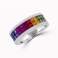 18ct White Gold Rainbow Sapphire & Diamond 4-Row Eternity Ring