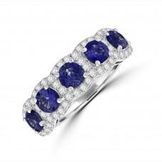 18ct White Gold Sapphire Diamond Halo Eternity Ring