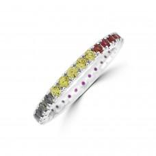 18ct White Gold Rainbow Sapphire & Diamond Full Hoop Ring