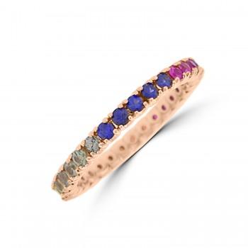 18ct Rose Gold Rainbow Sapphire & Diamond Full Hoop Ring