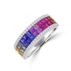 18ct White Gold 4-Row Rainbow Sapphire & Diamond Eternity Ring