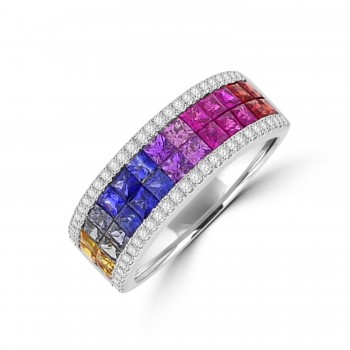 18ct White Gold 4-Row Rainbow Sapphire & Diamond Eternity Ring