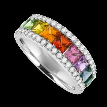 18ct White Gold Rainbow Sapphire Diamond 3-row Eternity Ring