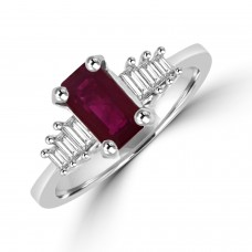 18ct White Gold Ruby & Baguette Diamond Ring