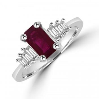 18ct White Gold Ruby & Baguette Diamond Ring