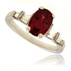 18ct White Gold Ruby Solitaire ring with Diamond Baguettes