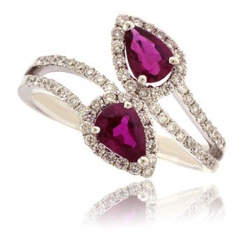 18ct White Gold Ruby & Pave Diamond Overlap Ring