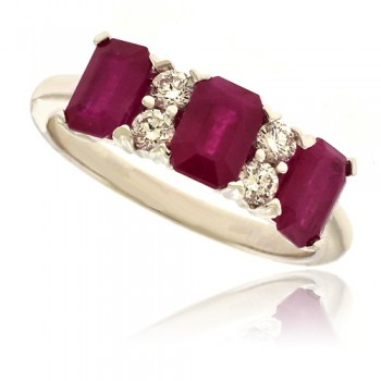 18ct White Gold 3-stone Ruby Ring