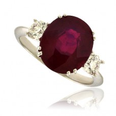 18ct White Gold 3-stone Ruby & Diamond Ring