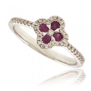 18ct White Gold Ruby & Pave Diamond Flower Cluster Ring