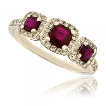 18ct White Gold 3-Stone Ruby Diamond Halo Ring