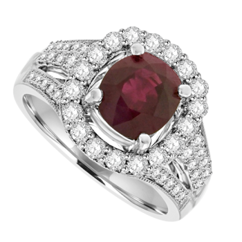 18ct White Ruby Solitaire & Pave Diamond Cluster Ring