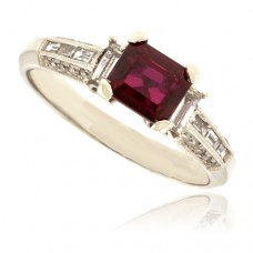 18ct White Gold Ruby Solitaire Ring with Diamond set shoulders