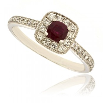 18ct White Gold Ruby & Diamond Halo Ring