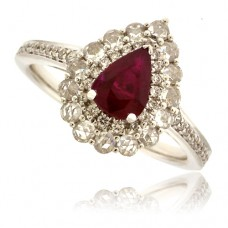 18ct White Gold Pear cut Ruby Diamond Halo Ring