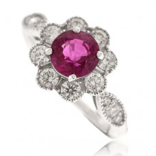 18ct White Gold Ruby & Diamond Vintage Cluster Ring