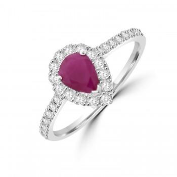 18ct White Gold Pear cut Ruby Diamond Halo ring