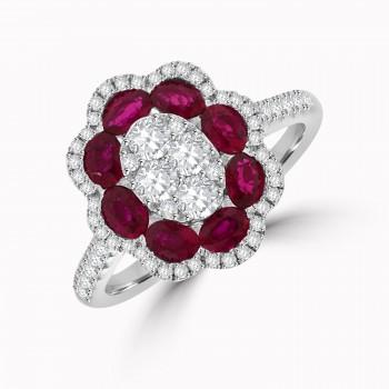 18ct White Gold Ruby & Diamond Flower Cluster Ring