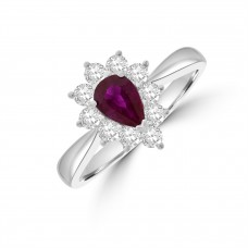 18ct White Gold Pear .57ct Ruby and Diamond Cluster Ring