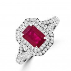 18ct White Gold Ruby and Diamond Double Halo Ring