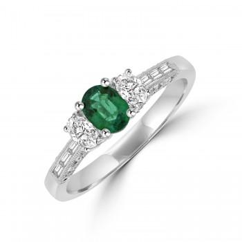 18ct White Gold 3-stone Emerald & Diamond Ring