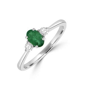 18ct White Gold  Three-stone Oval Emerald and Diamond ring
