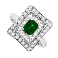 18ct White Gold Emerald & Baguette Diamond Square Cluster Ring