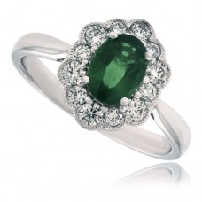 18ct White Gold oval Emerald & Diamond Cluster Ring