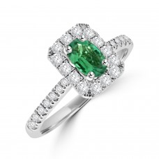 18ct White Gold Oval Emerald & Diamond Halo Ring