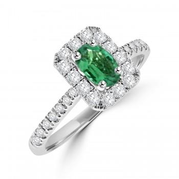 18ct White Gold Oval Emerald & Diamond Halo Ring