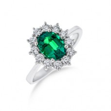 18ct White Gold Emerald & Diamond Oval Cluster Ring