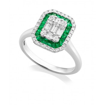 18ct White Gold Emerald & Baguette Diamond Cluster Ring