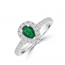 18ct White Gold Emerald & Diamond Pear Halo Ring