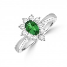 18ct White Gold Pear .49ct Emerald and Diamond Cluster Ring