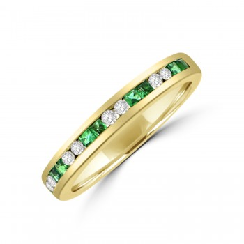 18ct Gold Emerald & Diamond Channel set Eternity Ring