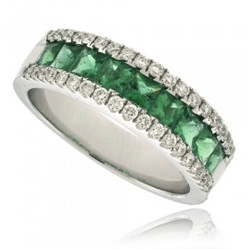 18ct White Gold 3-Row Emerald & Diamond Eternity Ring
