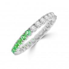 18ct White Gold Emerald and Diamond Full Hoop Eternity Ring