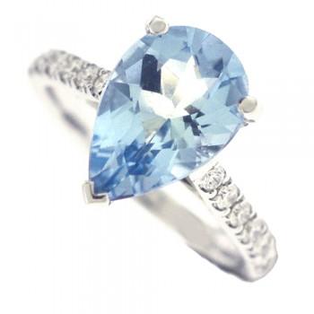18ct White Gold Aquamarine Solitaire & Diamond Ring