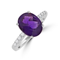 18ct White Gold Amethyst Solitaire & Diamond Ring