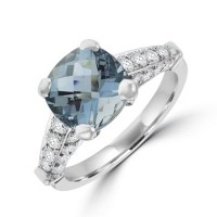 18ct White Gold Aqua Solitaire ring with Diamond shoulders