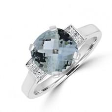 18ct White Gold Aqua & Diamond Ring