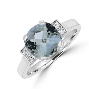 18ct White Gold Aqua & Diamond Ring